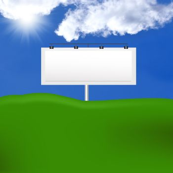 Publicity board against the bright blue cloudy sky and greenfield