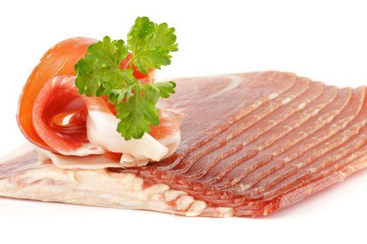 Thin slices of jamon