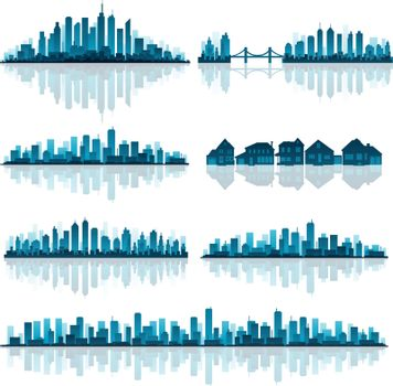 Set of detailed cities silhouette