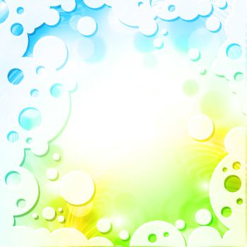 Spring colors background in abstract frame with round shapes
