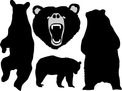 set of the silhouettes of the bear