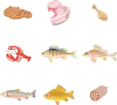 set of the fishes and meat