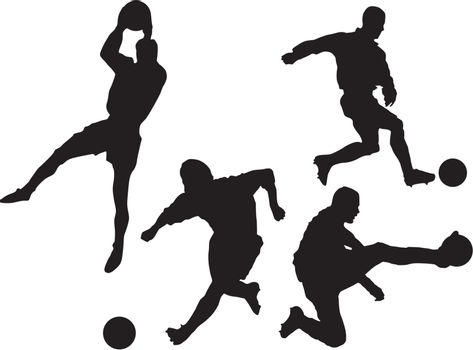 Set of the silhouettes of football players