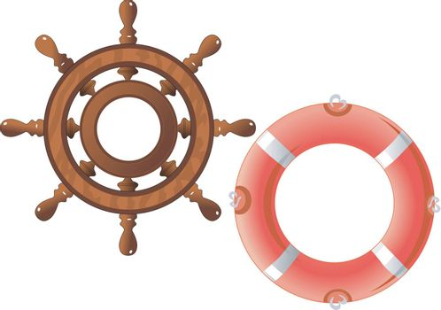 set of a steering wheel and a lifebuoy