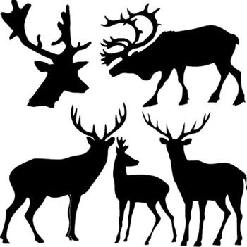 set of the silhouettes of the deer