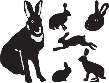 set of the silhouettes of the hare