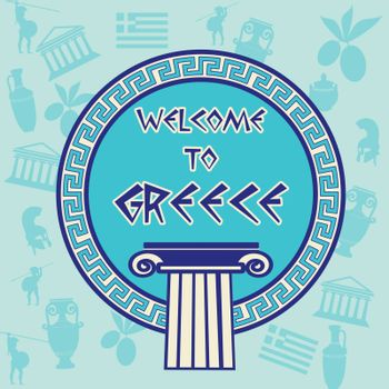 Welcome to Greece travel sticker on greek patern background, vector illustration