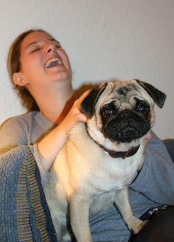 pug and girl