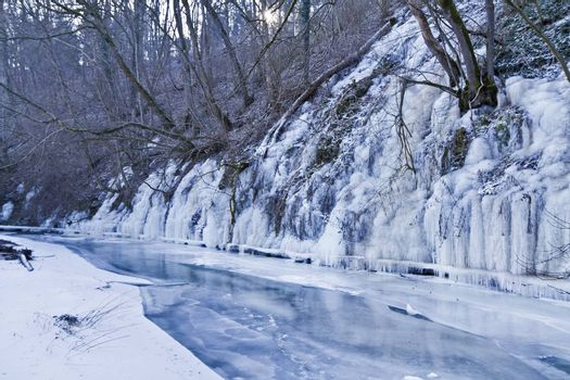 frozen river with ice. rural scene in south germany