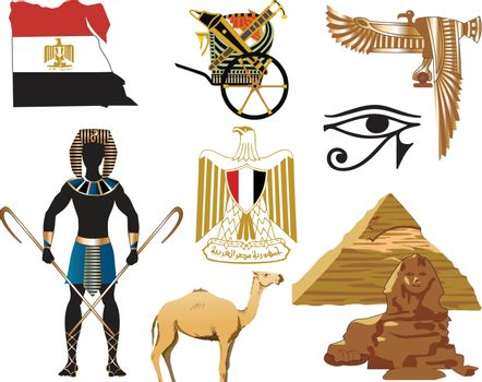 Vector Illustration of several Egyptian icons and symbols.