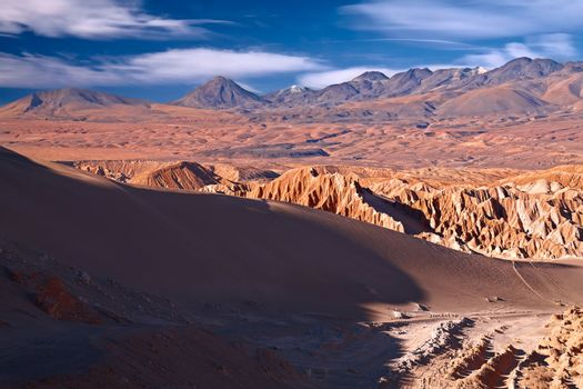 view from Valle de la Muerte (Death Valley) on the dune and Ande