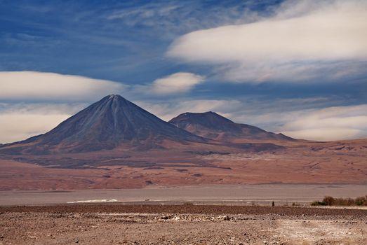 volcanoes Licancabur and Juriques, Atacama desert in Chile