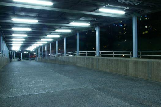 Footbridge at night with nobody