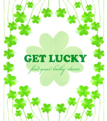 Green clover holiday frame collage, st.Patrick's day decoration isolated on white background with text space