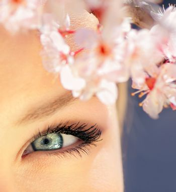 Beautiful abstract blue eye surrounded with flowers