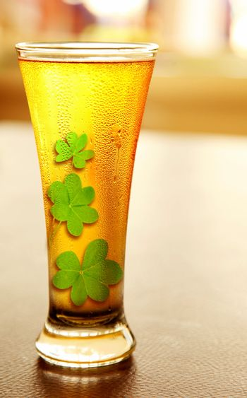 Cold beer for st.Patrick's day holiday celebration, lucky concept