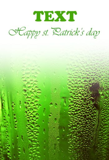 Green clover beer background border, st.Patrick's day holiday celebration with text space, lucky concept