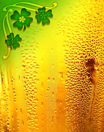 Beer background with clover border