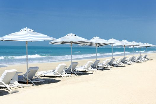Panoramic view of chairs on the beach