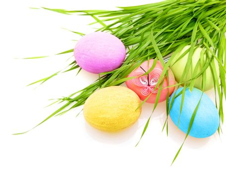 Easter colorful eggs with grass isolated on white background