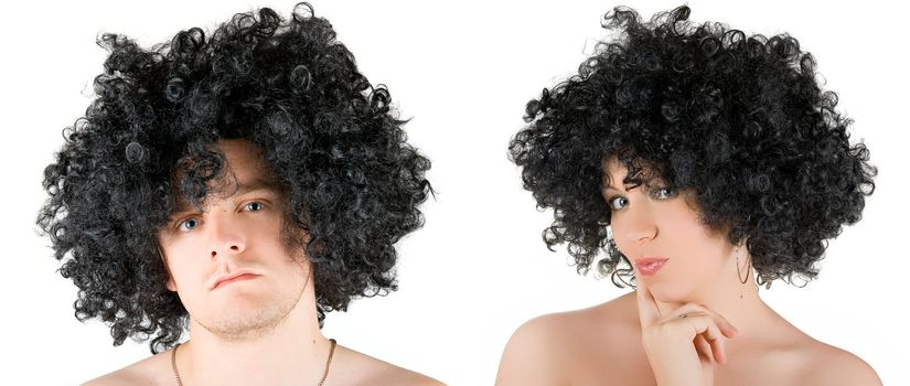 Beautiful young frizzy woman and man  isolated over white background