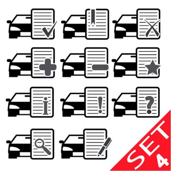 Car Web icons set 4. Vector Illustration.