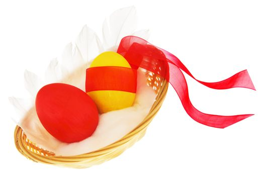 Easter eggs with red ribbon over white background