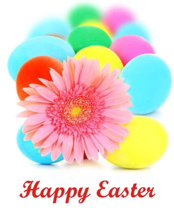 Colorful Easter eggs with flower isolated on white background