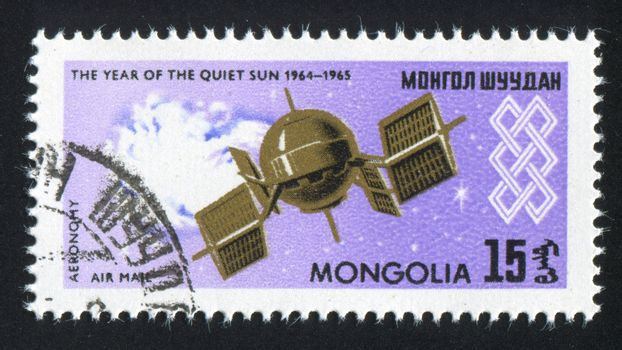 MONGOLIA - CIRCA 1965: stamp printed by Mongolia, shows  space satellite, circa 1965
