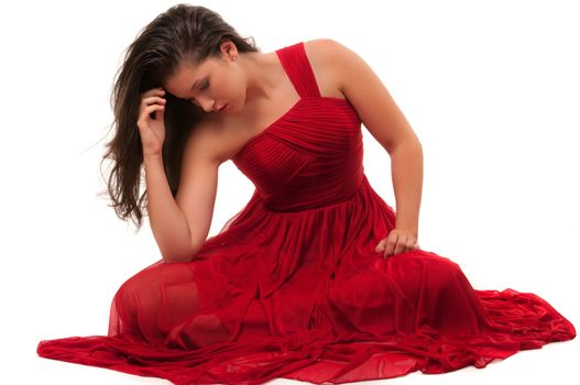 Fashion model with red dress