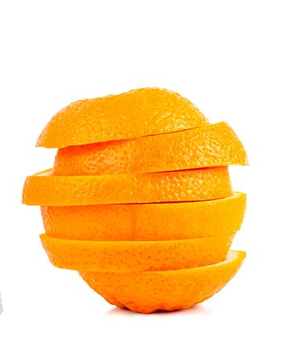 Stack of orange slices isolated over white background