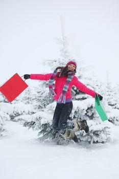 winter girl jump