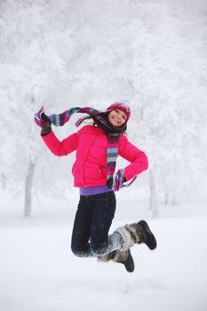 winter women jump