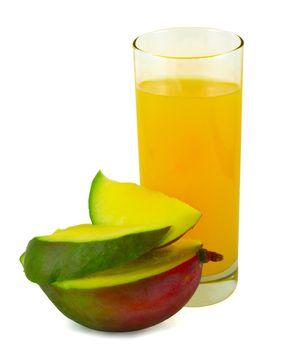 Juice with cut mango isolated on white background
