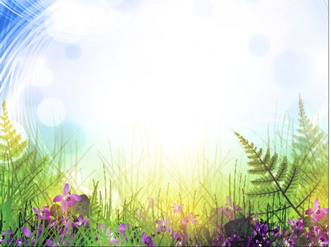 summer meadow with viola flowers over bright background