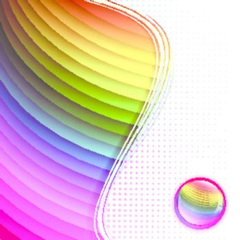 Rainbow multicolored abstract bright background in frame with glossy button