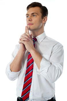 Mature male executive thinking