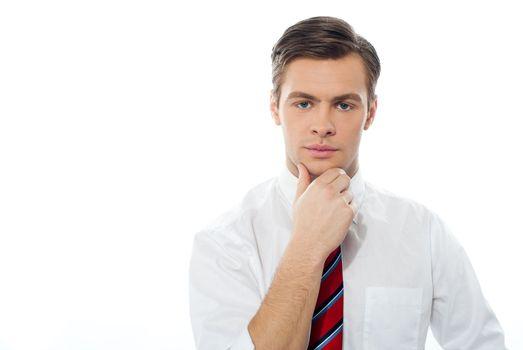 Closeup portrait of a casual young businessman