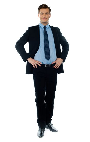 Stylish young executive in business suit posing with hands on his waist