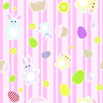 illustration of abstract background with Easter bunnies