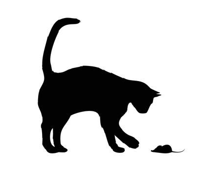 The black cat plays with a mouse. A vector illustration