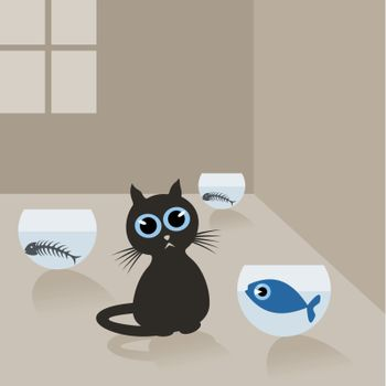 Cat in the house and fish in an aquarium. A vector illustration