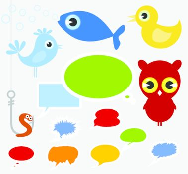 Set of icons a cartoon film of animals. A vector illustration