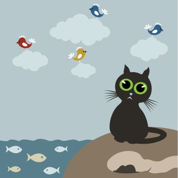Cat on the nature fish and a bird. A vector illustration