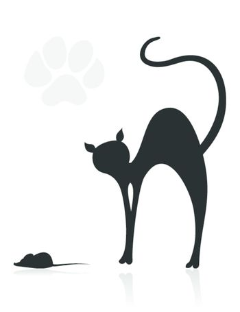 The black cat hunts on the mouse. A vector illustration