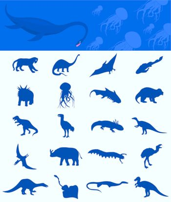 Collection of dinosaurs of the ancient nature. A vector illustration