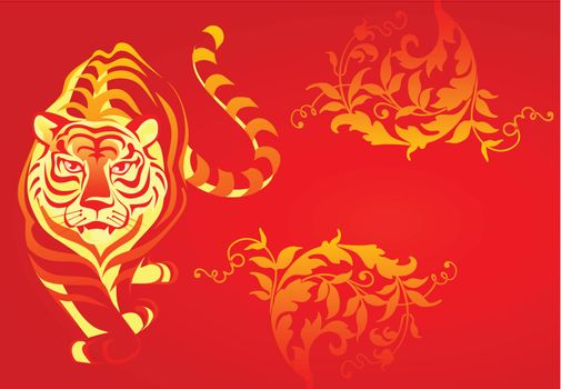 White tiger on a red background. A vector illustration