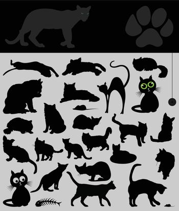 Black silhouettes of house cats. A vector illustration