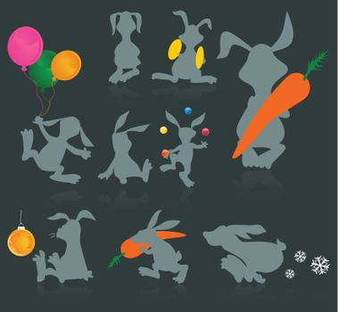 Set of icons of cheerful rabbits. A vector illustration