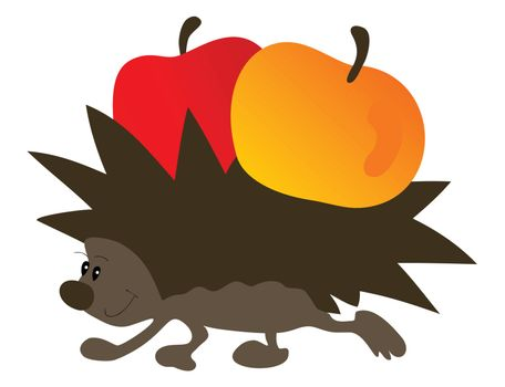 Hedgehog with apples and leaves fly. A vector illustration